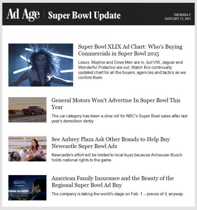 Super Bowl XLIX Ad Chart  Who s Buying Big Game Commercials ... c37e29c3670