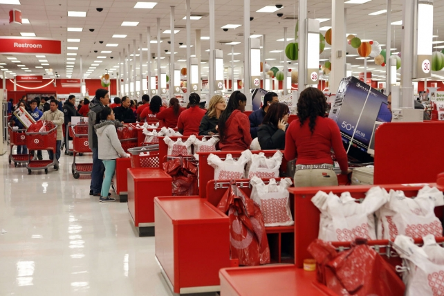 Customers checking out at a Target store in Chicago