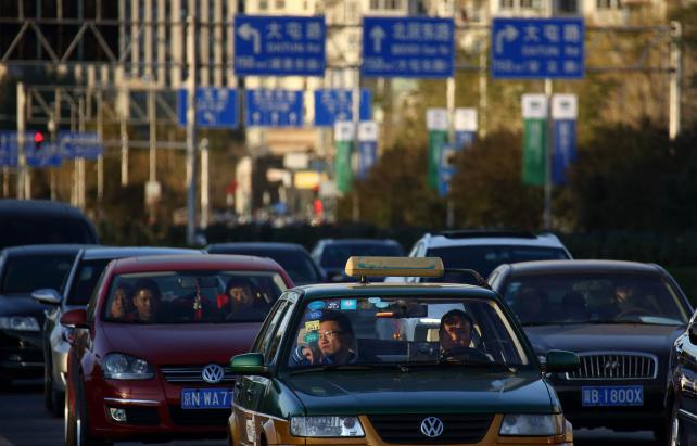Taxis and cars in Beijing.