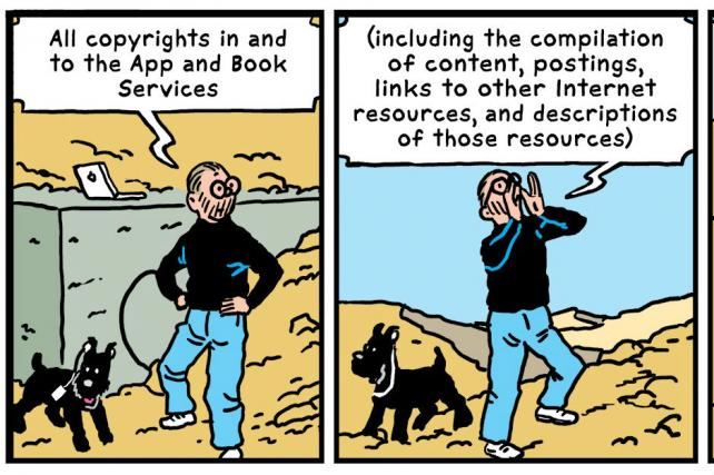 Parody of Hergé's The Adventures of Tintin comic in Terms and Conditions