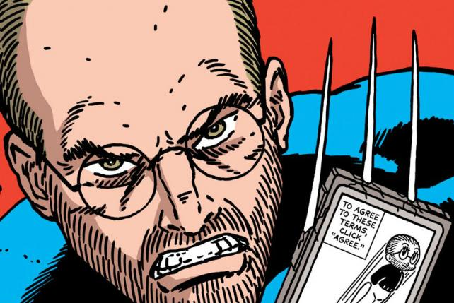 Steve Jobs as X-Men's Wolverine on the cover of Terms and Conditions