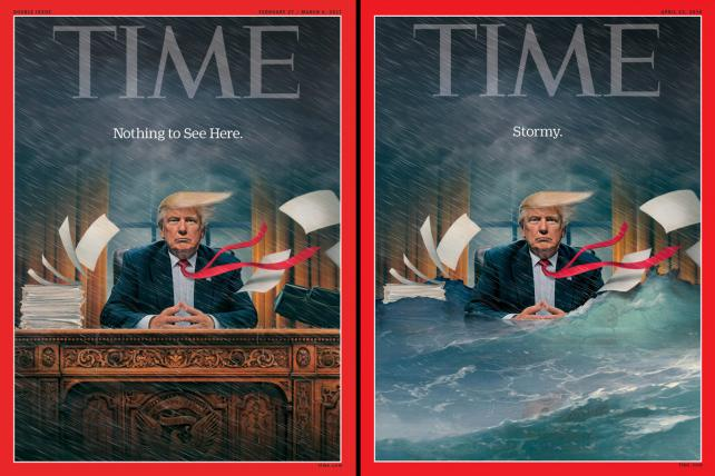 Time's Feb. 16, 2017 and April 23, 2018 covers.