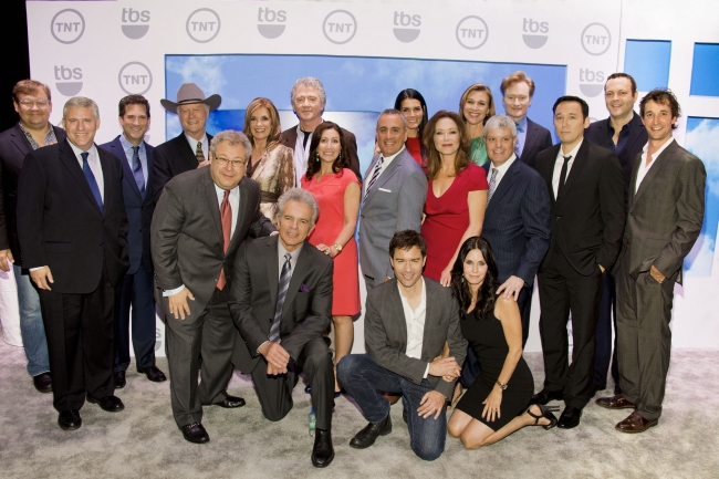 Andy Richter, Phil Kent, Michael Wright, Larry Hagman, Steve Koonin, Linday Gray, Tony Denison, Patrick Duffy, Donna Speciale, Eric McCormack, Frank Sgrizzi, Angie Harmon, Mary McDonnell, Courteney Cox, Brenda Strong, David Levy, Conan O'Brien, Steve Byrne, Vince Vaughn and Noah Wyle at the Hammerstein Ballroom in New York for TNT and TBS's upfront presentation
