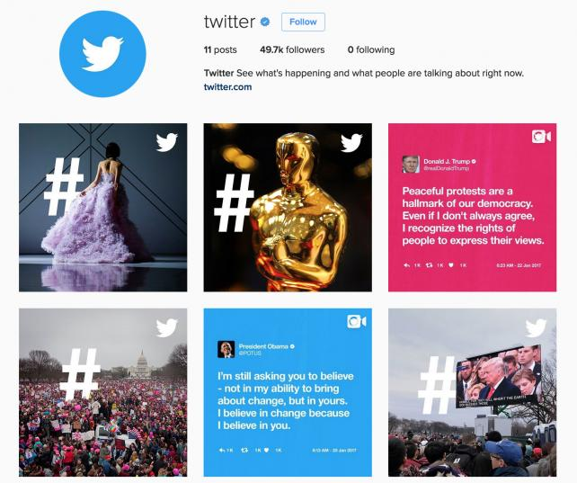Twitter is using Instagram as an extension of its hashtag-focused marketing campaign.
