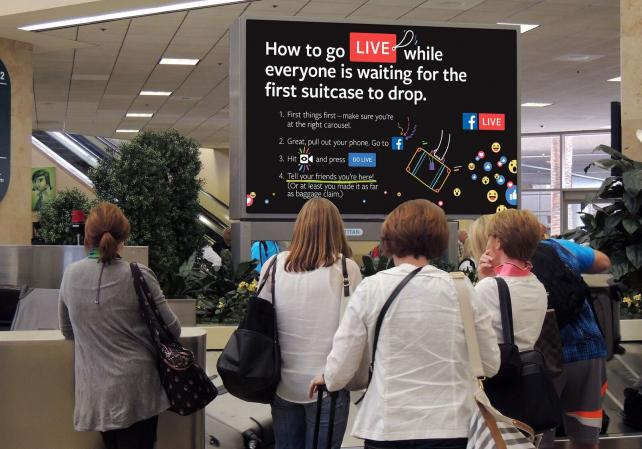 A baggage-claim ad for Facebook Live.