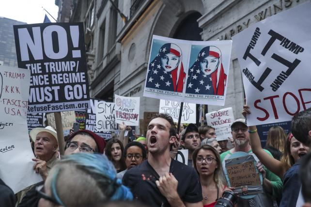 Protesters in New York responded to the president's comments on violence in Charlottesville, Virginia.