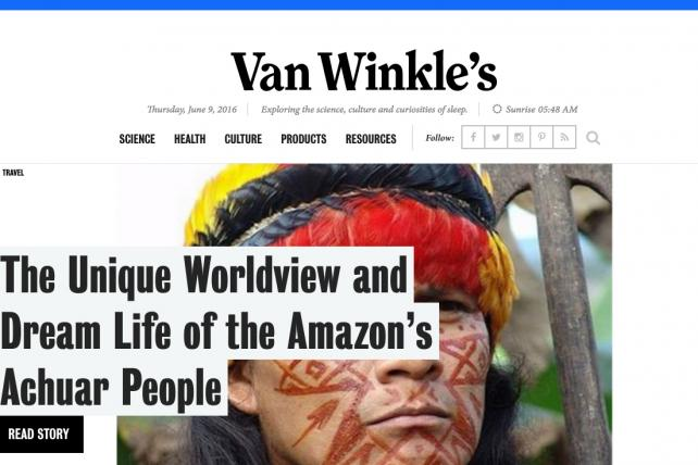 Van Winkle's, a site created by the mattress marketer Casper but described as a journalistic publication.