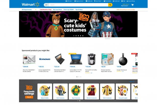 A row of product ads appear on Walmart.com.