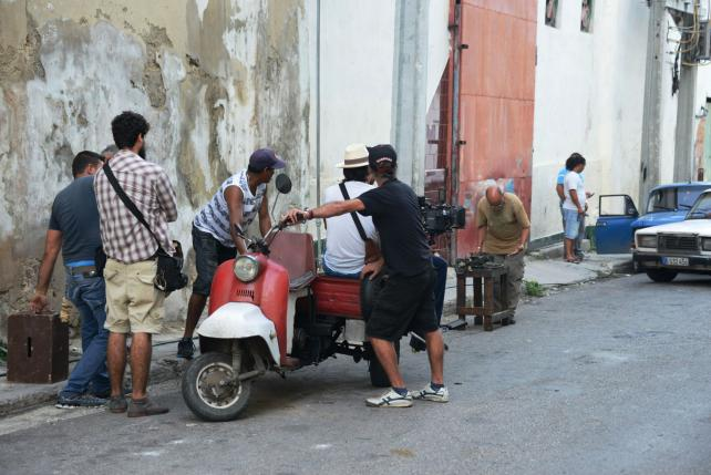 On the set with Western Union in Cuba.