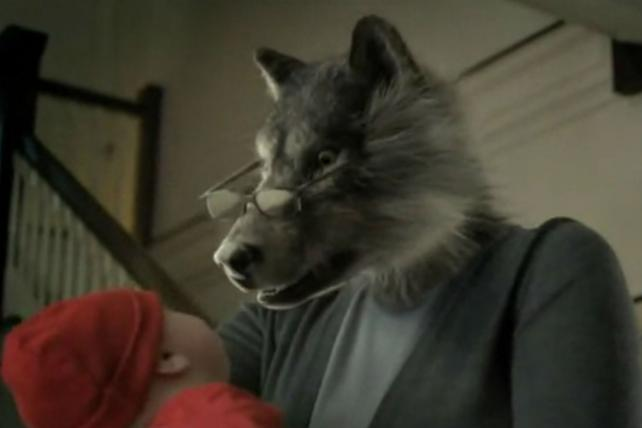 Grandma is a wolf in an ad for a whooping cough vaccine.