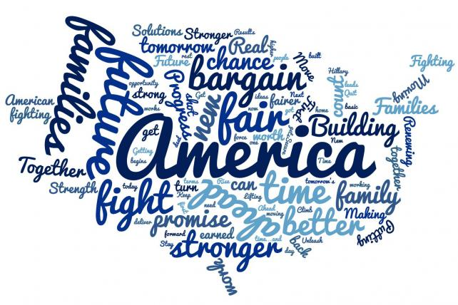 A word cloud built (using wordclouds.com) from the potential Clinton campaign slogans shown below.