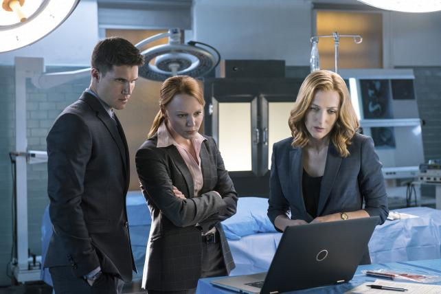 Robbie Amell, Lauren Ambrose and Gillian Anderson in the 'My Struggle II' season finale episode of Fox's 'The X-Files.'