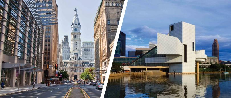 (From l.) View of Philadelphia City Hall and the Pennsylvania Convention Center from North Broad Street and the Cleveland skyline from North Coast Harbor