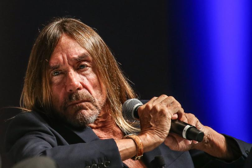 Iggy Pop speaks during Grey's seminar at the Cannes Lions International Festival of Creativity.
