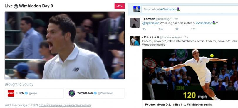 A snapshot of Wimbledon coverage that streamed live on Twitter, albeit without live match play.