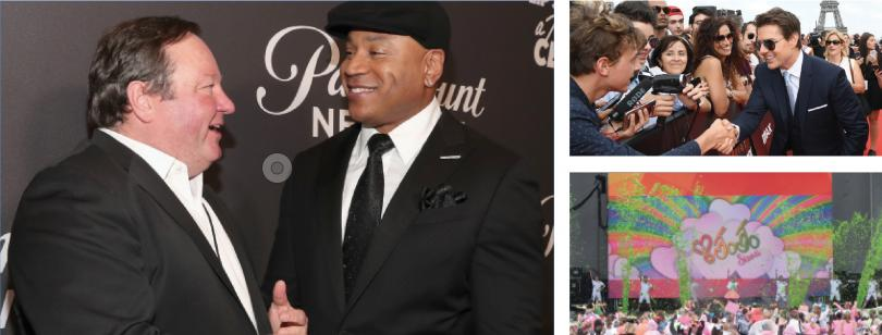(Clockwise from l.) Viacom's Bob Bakish with LL Cool J; Tom Cruise, star of Paramount's
