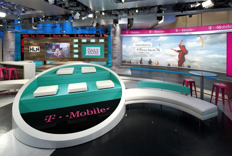The set of 'The Daily Share,' where T-Mobile is presenting sponsor.