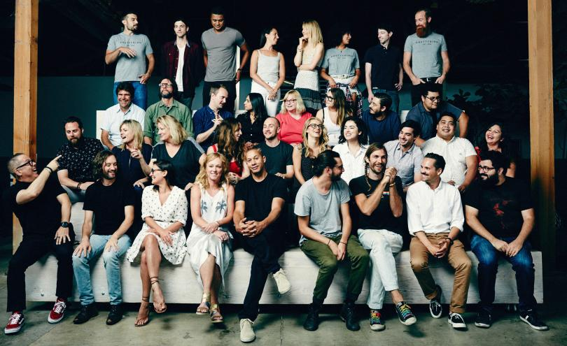 The Prettybird Team, with founders Kerstin Emhoff and Paul Hunter seated fourth and fifth from left in front row.