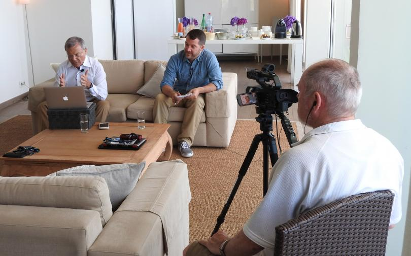 Martin Sorrell and Ken Wheaton during an interview in Cannes on Friday morning.
