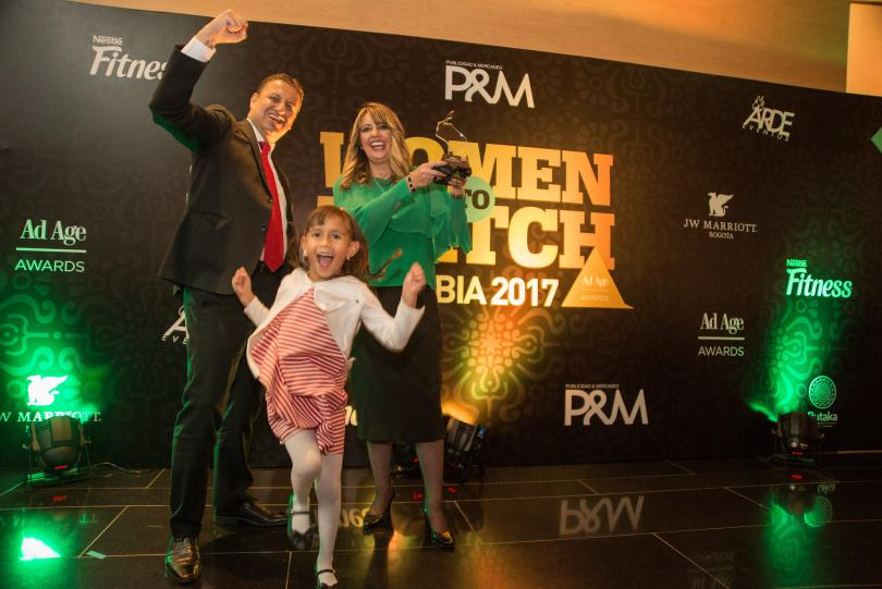 Honoree Lina Echeverri with husband and daughter Sergio and Maria Clara Quiceno.