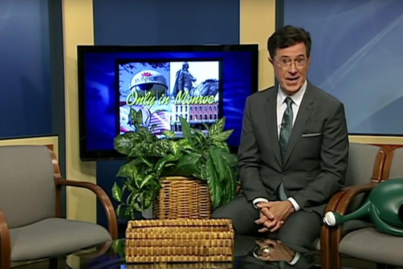 Stephen Colbert on the public access program 'Only in Monroe.'
