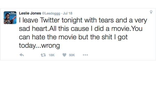 Leslie Jones' final tweet. Making Twitter safer from those who harass and make threats is one of CEO Jack Dorsey's top five priorities for the year.