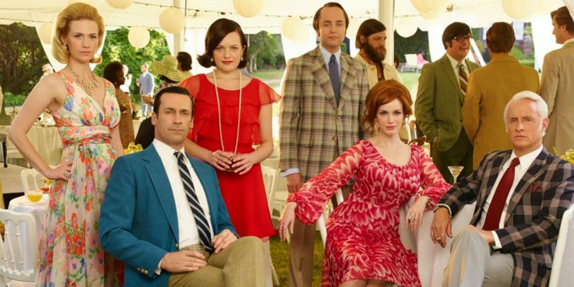 Betty Francis (January Jones), Don Draper (Jon Hamm), Peggy Olson (Elisabeth Moss), Pete Campbell (Vincent Kartheiser), Joan Harris (Christina Hendricks) and Roger Sterling (John Slattery).