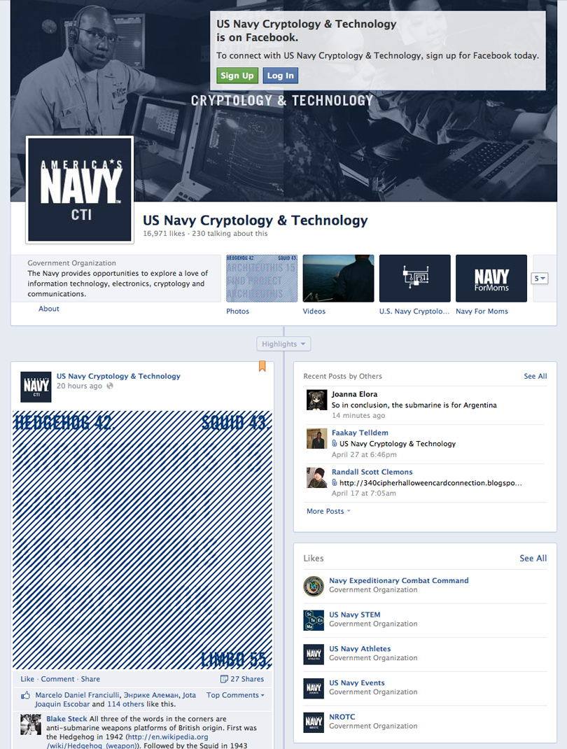 US Navy Recruits Using Facebook Cryptology Game